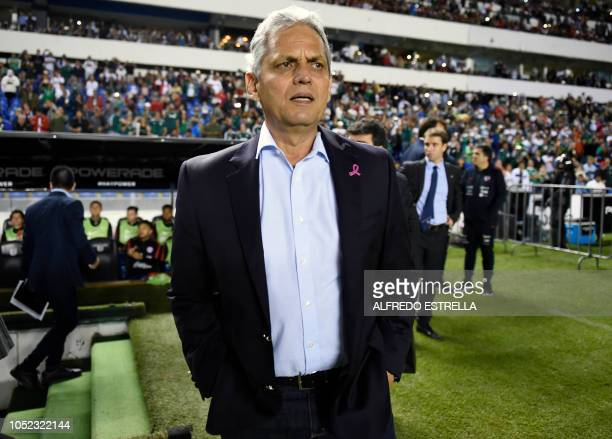 Chile's coach Reinaldo Rueda gestures before the start of a friendly football match between Mexico and Chile at the La Corregidora stadium in...