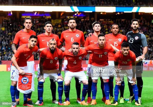 Chile's defender Enzo Roco Chile's midfielder Pedro Hernandez Chile's defender Guillermo Maripan Chile's forward Angelo Sagal Chile's defender Jean...