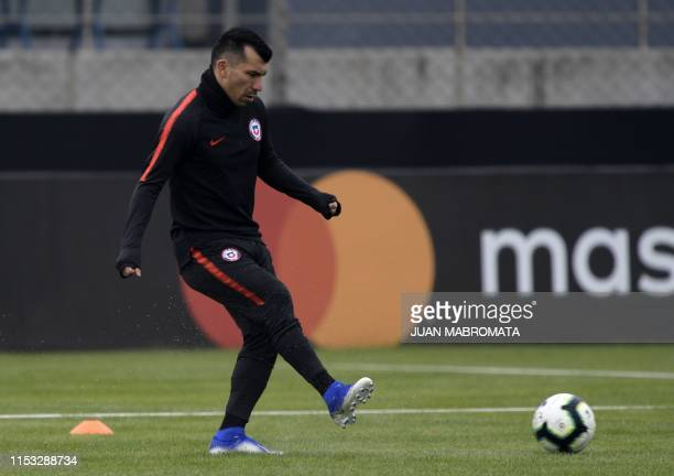 Chile's defender Gary Medel takes part in a training session in Porto Alegre Rio Grande do Sul Brazil on July 2 on the eve of the Copa America...