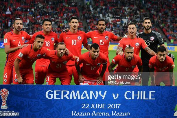 Chile's defender Mauricio Isla Chile's defender Gonzalo Jara Chile's midfielder Pablo Hernandez Chile's defender Jean Beausejour Chile's forward...