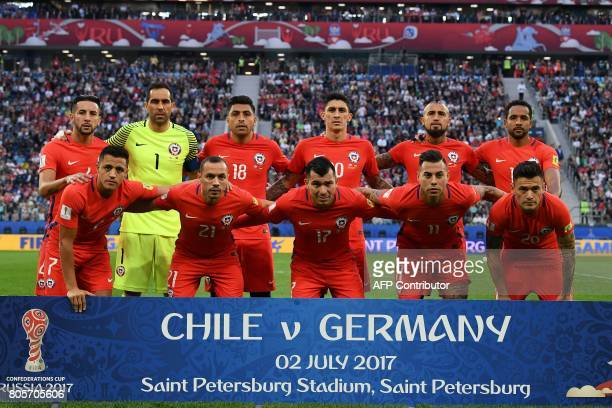 Chile's defender Mauricio Isla Chile's goalkeeper Claudio Bravo Chile's defender Gonzalo Jara Chile's midfielder Pablo Hernandez Chile's midfielder...