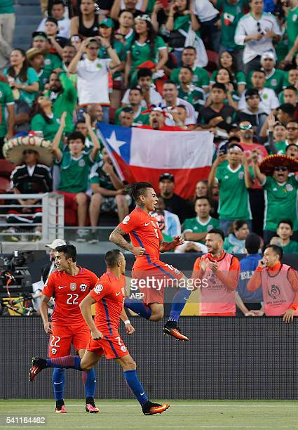 Chile's Eduardo Vargas celebrates a goal against Mexico during a Copa America Centenario quarterfinal football match in Santa Clara California United...