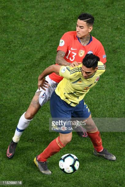 Chile's Erick Pulgar and Colombia's Radamel Falcao vie for the ball during their Copa America football tournament quarterfinal match at the...