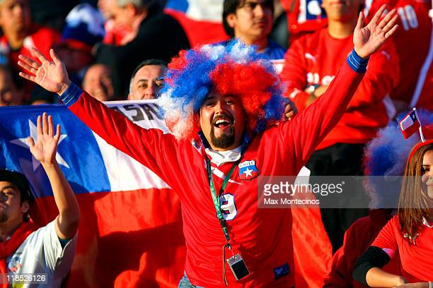 Chile´s fans cheer to their team during a match as part of group C of 2011 Copa America at Malvinas Argentinas Stadium on July 8 2011 in Mendoza...
