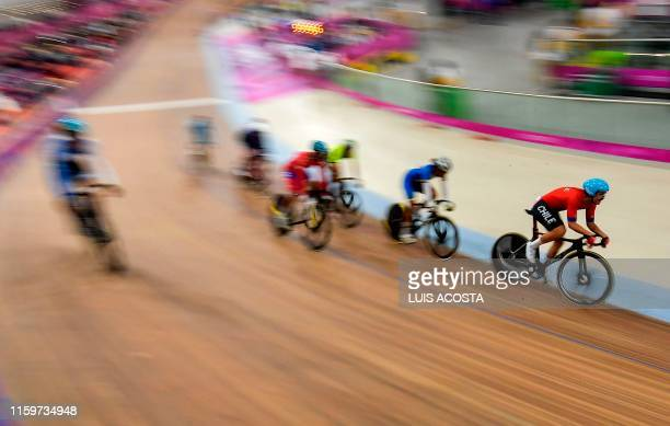 Chile's Felipe Penaloza competes in the Men's Madison Finals of the Cycling competition, during the Lima 2019 Pan-American Games in Lima on August 4,...