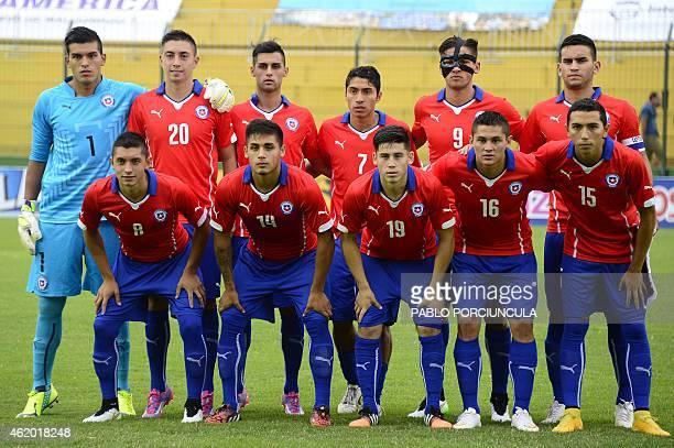 Chile's footballers goalkeeper Miguel Vargas defender Rodrigo Echeverria defender Raul Osorio midfielder Luciano Cabral forward Ignacio Jeraldino...
