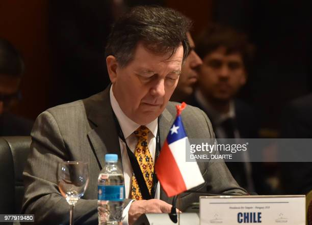 Chile's Foreign Minister Roberto Ampuera attends the Mercosur Summit in Luque Paraguay on June 18 2018 During the South American trading bloc's...