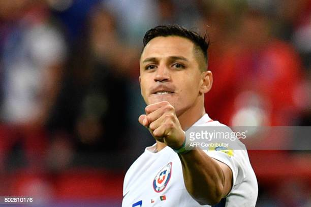 Chile's forward Alexis Sanchez celebrates after Chile won the 2017 Confederations Cup semifinal football match between Portugal and Chile at the...