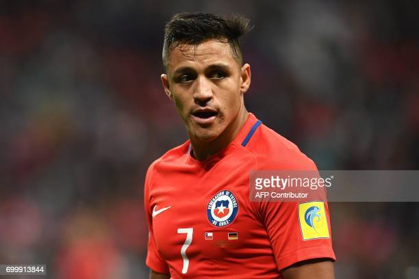 Chile's forward Alexis Sanchez reacts during the 2017 Confederations Cup group B football match between Germany and Chile at the Kazan Arena Stadium...