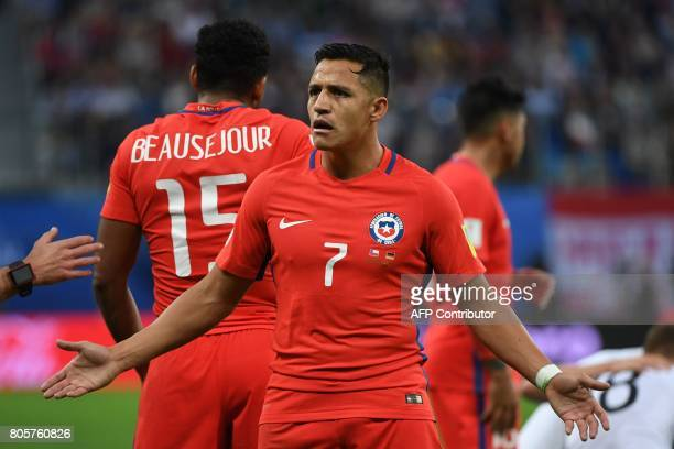 Chile's forward Alexis Sanchez reacts during the 2017 Confederations Cup final football match between Chile and Germany at the Saint Petersburg...