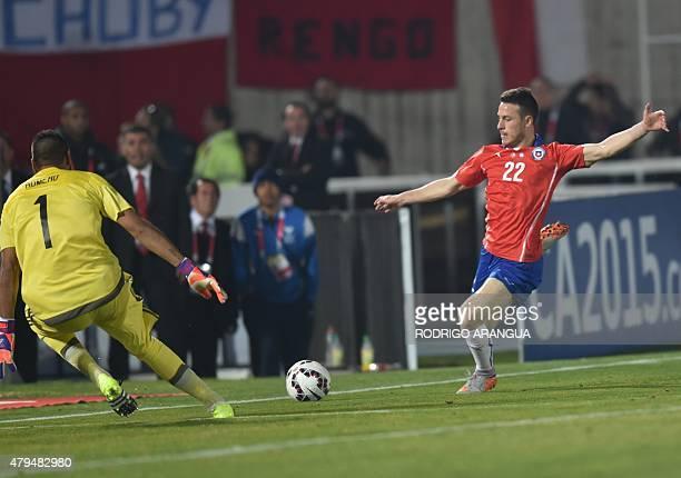 Chile's forward Angelo Henriquez kicks against Argentina's goalkeeper Sergio Romero during their 2015 Copa America final football match in Santiago...