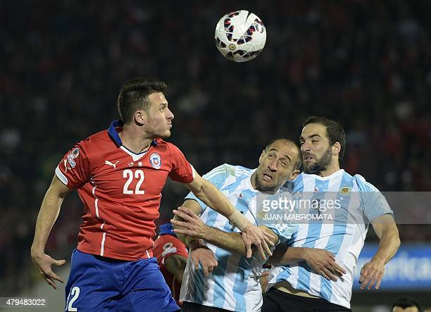 Chile's forward Angelo Henriquez vies for the ball with Argentina's defender Pablo Zabaleta and forward Gonzalo Higuain during their 2015 Copa...