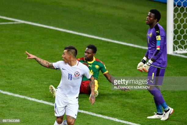 TOPSHOT Chile's forward Eduardo Vargas celebrates after scoring a goal during the 2017 Confederations Cup group B football match between Cameroon and...