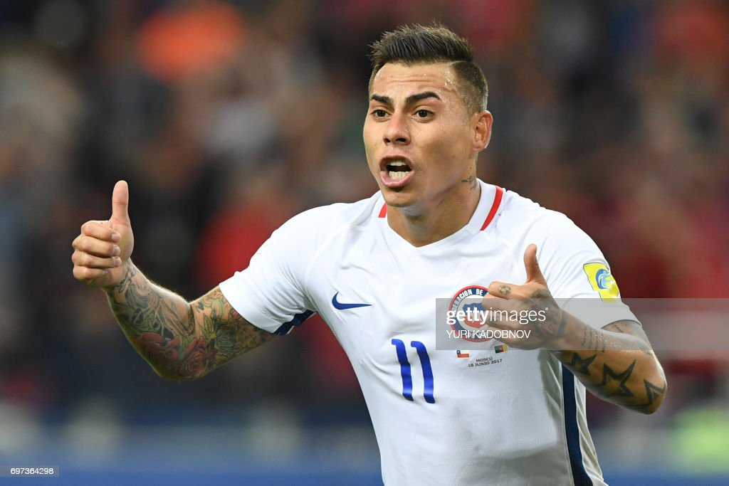 Chile's forward Eduardo Vargas celebrates after scoring a goal during the 2017 Confederations Cup group B football match between Cameroon and Chile at the Spartak Stadium in Moscow on June 18, 2017. / AFP PHOTO / Yuri KADOBNOV