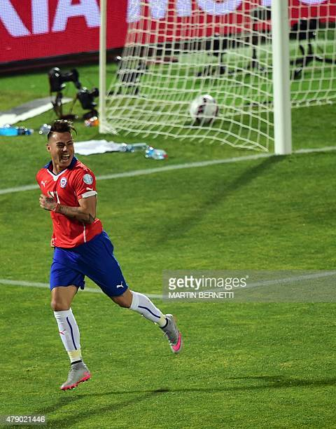 Chile's forward Eduardo Vargas celebrates after scoring against Peru during their 2015 Copa America football championship semi-final match, in...