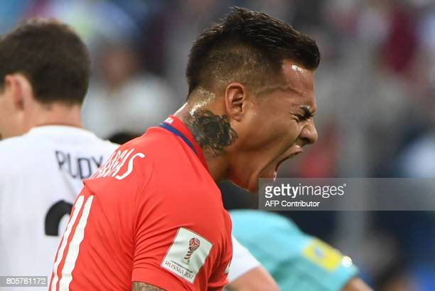 Chile's forward Eduardo Vargas reacts during the 2017 Confederations Cup final football match between Chile and Germany at the Saint Petersburg...
