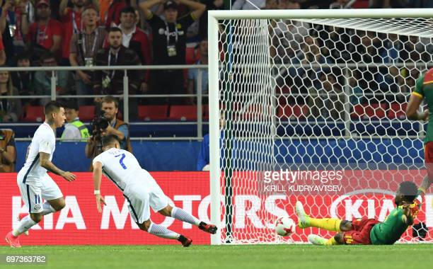 Chile's forward Eduardo Vargas scores his team's second goal during the 2017 Confederations Cup group B football match between Cameroon and Chile at...