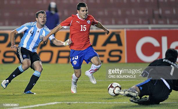 Chile's forward Ramses Bustos attempts to score against Argentina's goalkeeper Esteban Andrada after overpassing Argentina's Hugo Martin Nervo during...