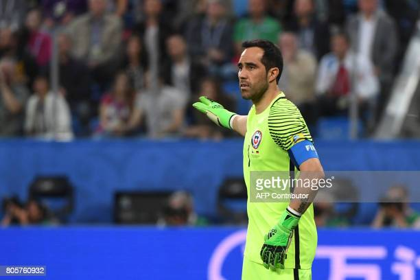 Chile's goalkeeper Claudio Bravo gestures during the 2017 Confederations Cup final football match between Chile and Germany at the Saint Petersburg...