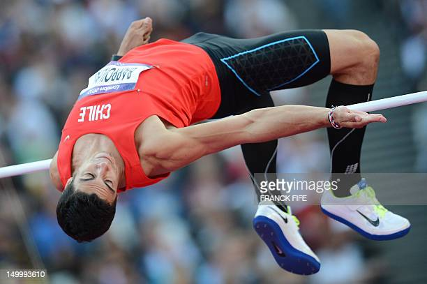 Chile's Gonzalo Barroilhet competes in the men's decathlon high jump qualifications at the athletics event of the London 2012 Olympic Games on August...