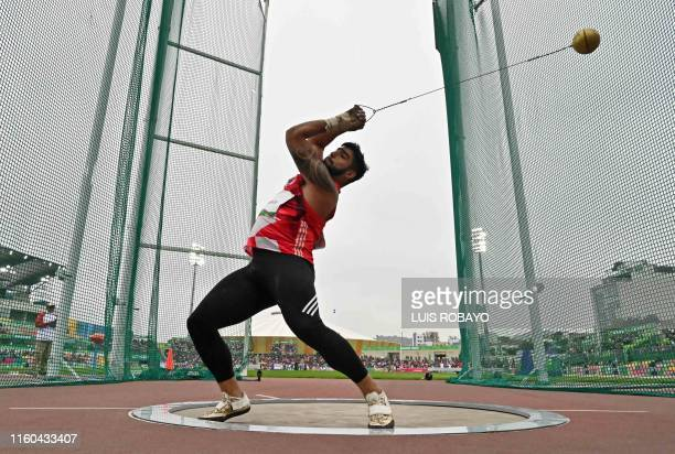 Chile's Humberto Mansilla competes in the Athletics Men's Hammer Throw Final during the Lima 2019 Pan-American Games in Lima on August 8, 2019.