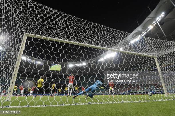 Chile's Jose Pedro Fuenzalida scores past Ecuador's goalkeeper Alexander Dominguez during their Copa America football tournament group match at the...