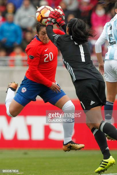 Chile's Marjorie Hernandez vies for the ball with Argentina's goalkeeper Vanina Correa during the Women's Copa America match at La Portada stadium in...