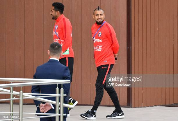 Chile's midfielder Arturo Vidal arrives for a training session in Saint Petersburg on June 30 2017 two days before their 2017 FIFA Confederations Cup...