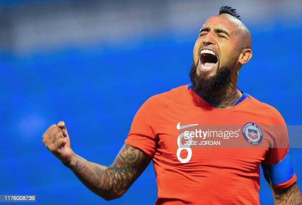 Chile's midfielder Arturo Vidal celebrates after scoring during the International Friendly football match Chile against Guinea at the Rico Perez...