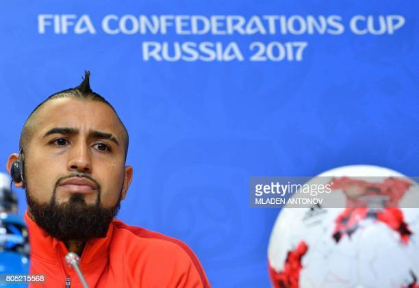 Chile's midfielder Arturo Vidal delivers a press conference at Krestovsky Stadium in Saint Petersburg on July 1 the eve of Chile's 2017 FIFA...