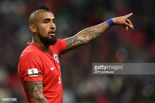 Chile's midfielder Arturo Vidal gestures during the 2017 Confederations Cup group B football match between Germany and Chile at the Kazan Arena...