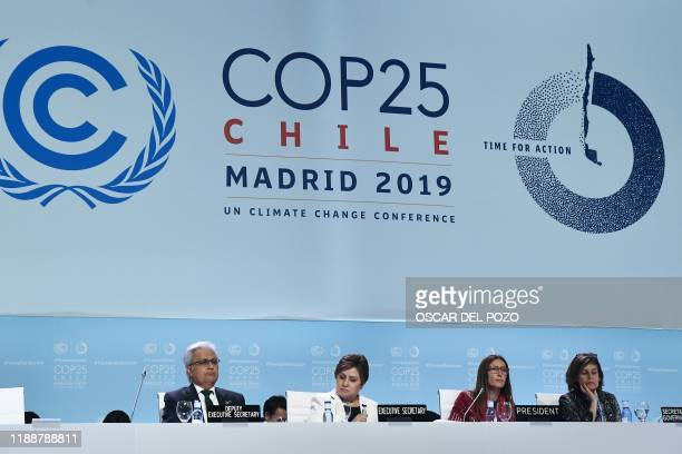 Chile's Minister of Environment and COP25 president Carolina Schmidt and UN Climate Change Executive Secretary Patricia Espinosa attend the closing...