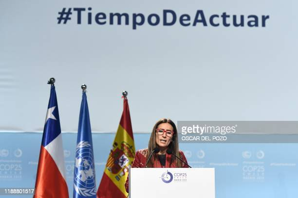 Chile's Minister of Environment and COP25 president Carolina Schmidt gives a speech during the closing plenary session of the UN Climate Change...