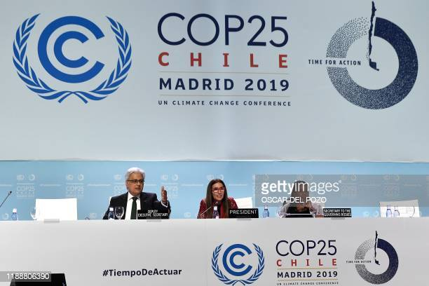 Chile's Minister of Environment and COP25 president Carolina Schmidt attends the closing plenary session of the UN Climate Change Conference COP25 at...
