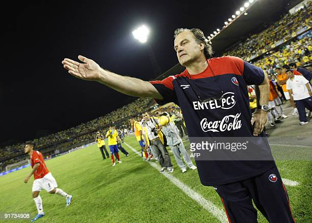 Chile's national football team coach Marcelo Bielsa gestures at the end of their FIFA World Cup South Africa2010 qualifier football match against...