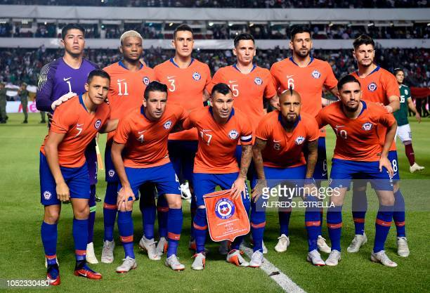 Chile's national football team players pose ahead of the friendly football match between Mexico and Chile at the La Corregidora stadium in Queretaro...