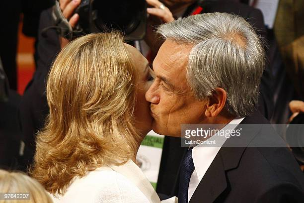 Chile's new President Sebastian Pinera kisses his wife Cecilia Morel during the inauguration ceremony at the Congress on March 11 2010 in Valparaiso...