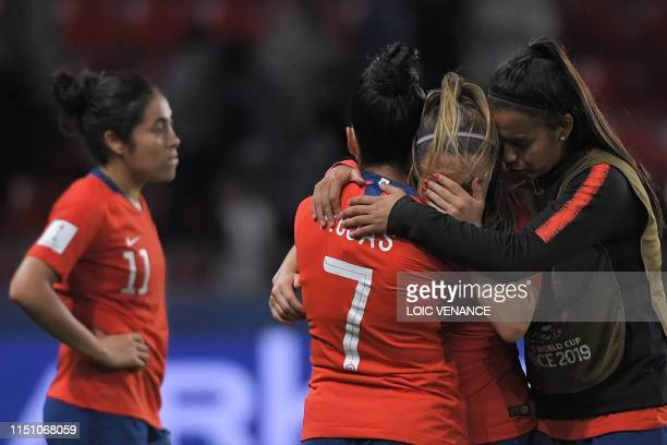 Chile's players react at the end of the France 2019 Women's World Cup Group F football match between Thailand and Chile on June 20 at the Roazhon...