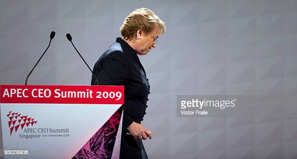 Chile's President Michelle Bachelet attends the first day of the Asia Pacific Economic Cooperation CEO Summit at the Suntec Singapore International...