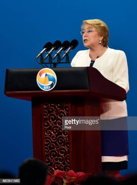 Chile's President Michelle Bachelet delivers a speech on Plenary Session of HighLevel Dialogue at the Belt and Road Forum on May 14 2017 in Beijing...