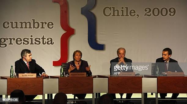 Chile's President Michelle Bachelet speaks next to British Prime Minister Gordon Brown US Vice President Joe Biden and the President of the Spanish...