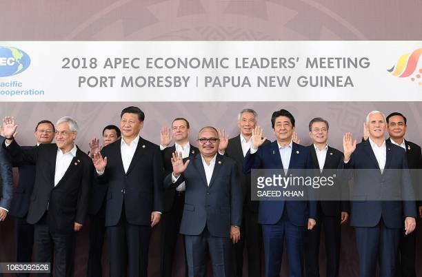 Chile's President Sebastian Pinera China's President Xi Jinping Papua New Guinea's Prime Minister Peter O'Neill Japan's Prime Minister Shinzo Abe and...