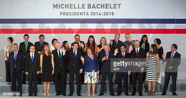 Chile's Presidentelect Michelle Bachelet who takes office on March 11 poses with her new cabinet during the announcementceremony in Santiago on...
