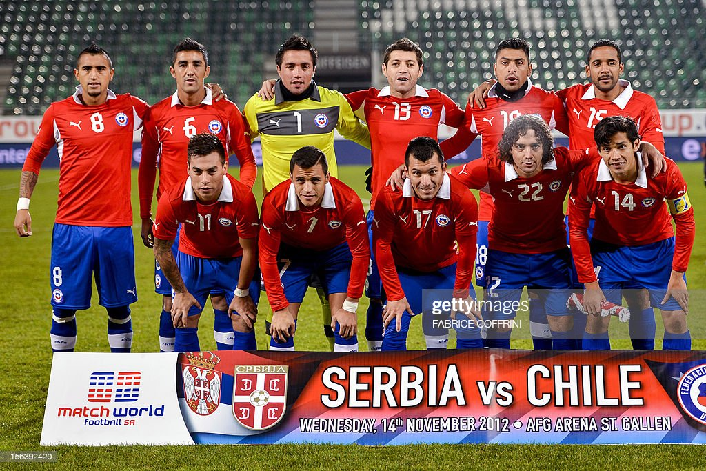 Chile's team players (L to R) front row: forward Eduardo Vargas, forward Alexis Sanchez, midfielder Gary Medel, midfielder Manuel Iturra and midfielder Matias Fernandez. Second row: midfielder Arturo Vidal, midfielder Osvaldo Gonzalez, goalkeeper Miguel Pinto, defender Jose Rojas, midfielder Gonzalo Jara and midfielder Jean Beausejour pose prior to a friendly football match between Chile and Serbia on November 14, 2012 at the AFG Arena in St Gallen.