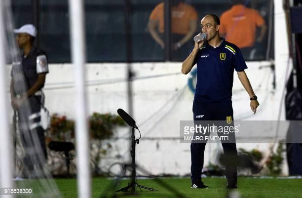 Chile's Universidad Concepcion coach Francisco Bozan gestures during their 2018 Libertadores Tournament football match against Brazil's Vasco da Gama...