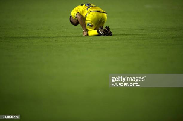 Chile's Universidad Concepcion player Jean David Meneses reacts after they lose to Brazil's Vasco da Gama in their 2018 Libertadores Tournament...