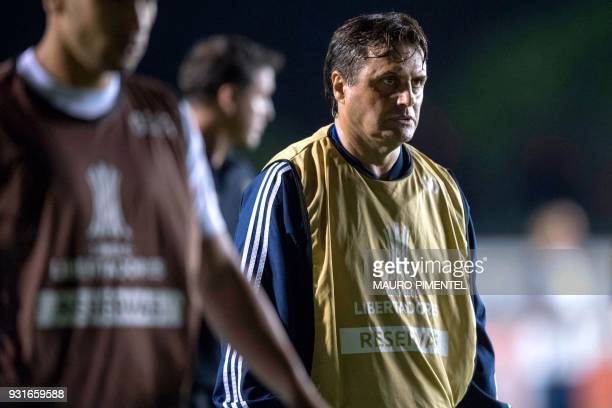 Chile's Universidad de Chile coach Angel Hoyos gestures during 2018 Libertadores Cup football match against Brazil's Vasco da Gama at Sao Januario...