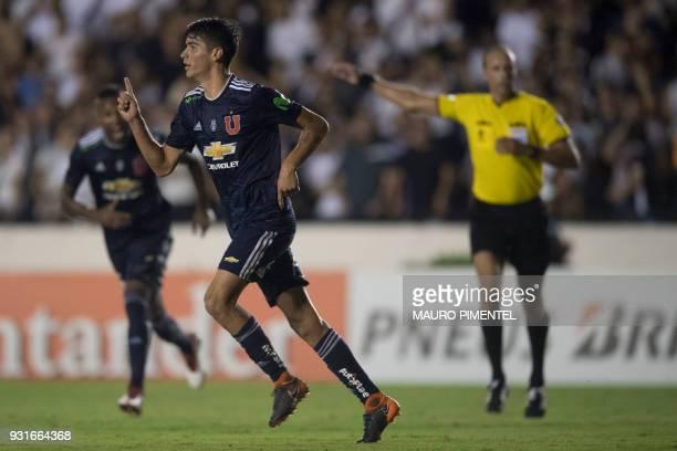 Chile's Universidad de Chile player Angelo Araos celebrates after scoring a goal against Brazil's Vasco da Gama during 2018 Libertadores Tournament...