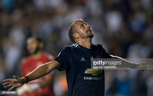 Chile's Universidad de Chile player Felipe Seymour reacts after missing a goal against Brazil's Vasco da Gama team during their 2018 Libertadores...