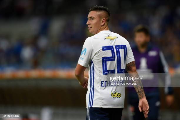 Chile's Universidad de Chile Rodrigo Echeverria leaves the fiedl after being set off during the Copa Libertadores football match against Brazil's...